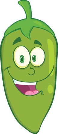 Smiling Green Chili Pepper Cartoon Mascot Character