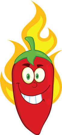 Smiling Red Chili Pepper Cartoon Mascot Character On Fire Vector