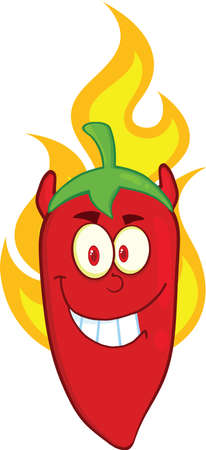 Red Chili Pepper Devil Cartoon Mascot Character On Fire Vector