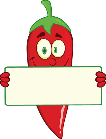Glimlachend Red Chili Pepper Cartoon Mascot Karakter Holding Een Banner
