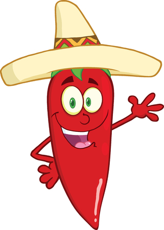 Smiling Red Chili Pepper Cartoon Character With Mexican Hat Waving For Greeting Illustration
