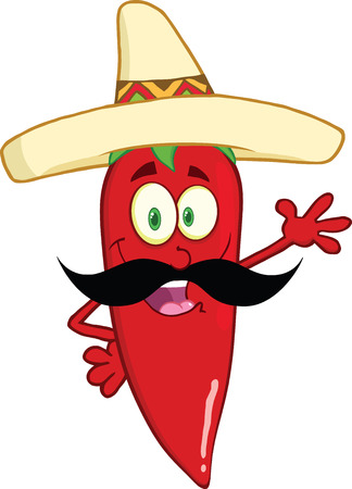 Red Chili Pepper Cartoon Character With Mexican Hat And Mustache Waving For Greeting Vector