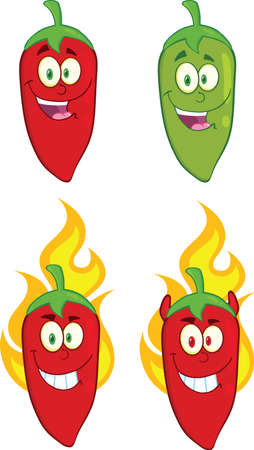 Hot Chili Peppers Cartoon Characters  Collection Set Vector