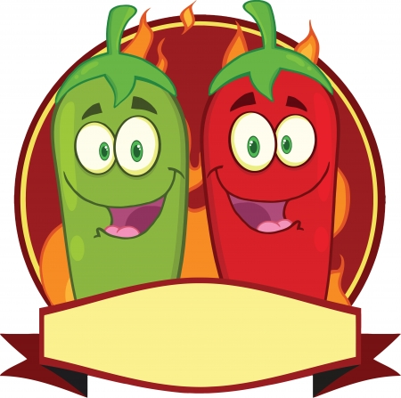 Mexican Chili Peppers Cartoon Mascot Label