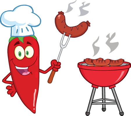 Cute Red Chili Pepper Chef With Sausage On Fork Cook At Barbecue Vector
