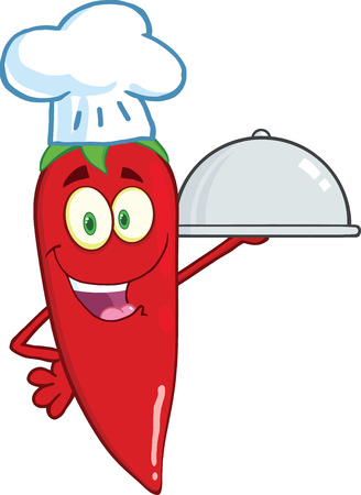 Cute Red Chili Pepper Chef Holding A Platter Vector