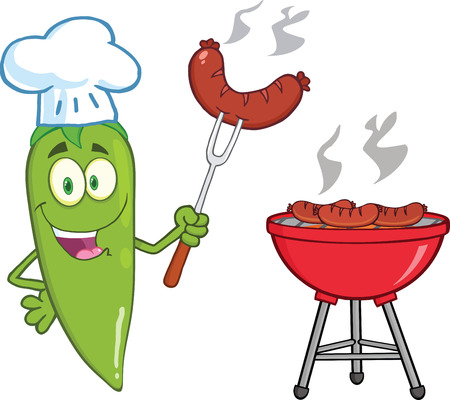 Cute Green Chili Pepper Chef With Sausage On Fork Cook At Barbecue Vector