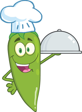 Cute Green Chili Pepper Chef Holding A Platter Vector