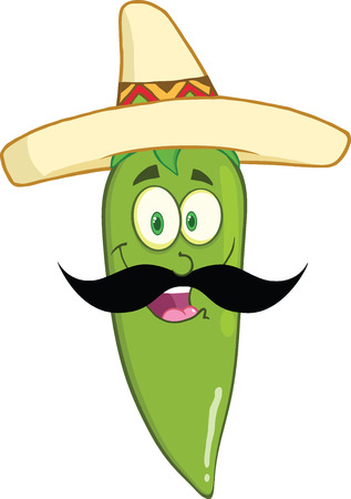 Smiling Green Chili Pepper Cartoon Mascot Character With Mexican Hat And Mustache