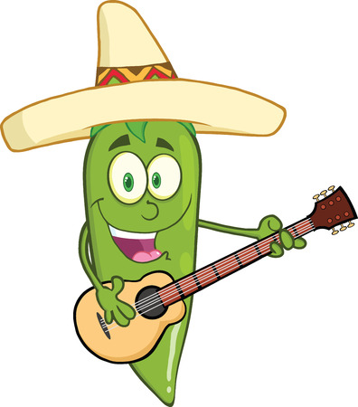 Green Chili Pepper Cartoon Character With Mexican Hat Playing A Guitar