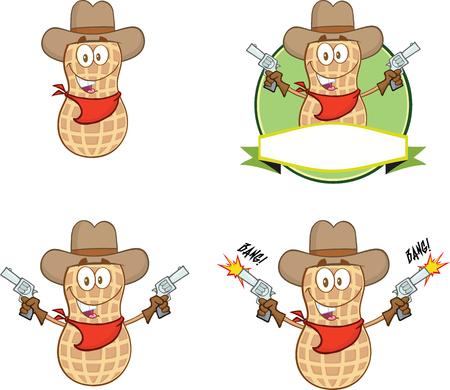 Peanut Cowboy Cartoon Mascot Character With Guns  Collection Set Illustration