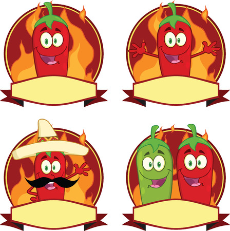 Mexican Chili Peppers Cartoon Labels  Collection Set Vector