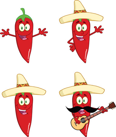 Red Chili Peppers Cartoon Characters 2  Collection Set Vector
