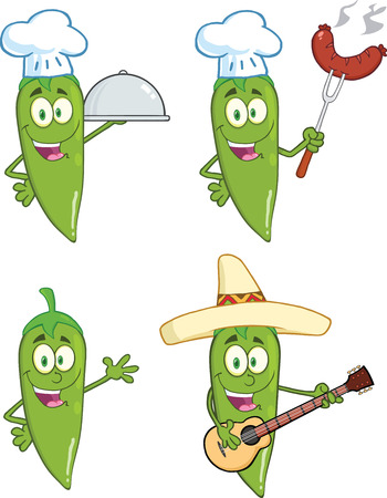 wiener: Green Chili Peppers Cartoon Characters 1  Collection Set