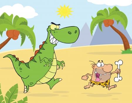 Angry Green Dinosaur Chasing A Caveman Vector