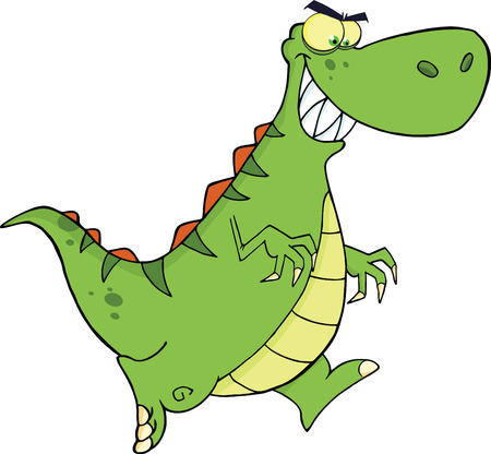 paleontological: Angry Green Dinosaur Cartoon Character Running  Illustration Isolated on white Illustration