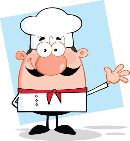 k�che: Cute Little Chef Character Winken F�r Gru�