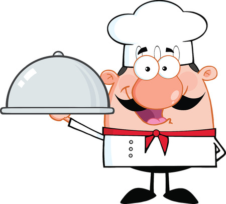 Happy Chef Cartoon Character Holding A Platter  Illustration Isolated on white 일러스트