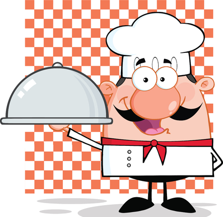 chef clipart: Happy Chef Character Holding A Platter
