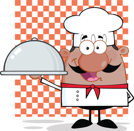 french cuisine: Happy African American Chef Character Holding A Platter