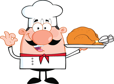 Leuk Karakter Little Chef Cartoon Holding Hele Geroosterde Turkije illustratie geà ¯ soleerd op wit Stockfoto - 22966840