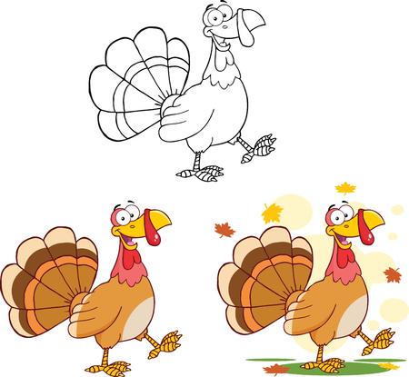 Happy Turkey Cartoon Character Walking  Collection Set Vector