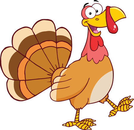 Happy Turkey Cartoon Mascot Character Walking  Illustration Isolated on white