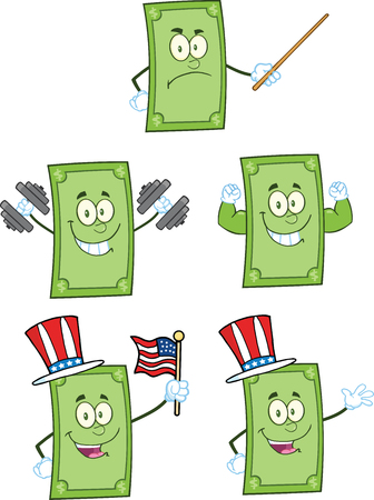 Dollar Bill Cartoon Mascot Characters 2  Collection Set Vector
