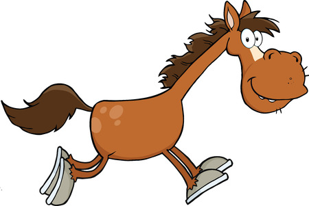 Smiling Horse Cartoon Character Running  Illustration Isolated on white 向量圖像