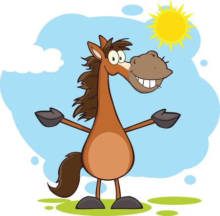 Sorridente Cavallo del fumetto del carattere della mascotte a braccia aperte sul paesaggio
