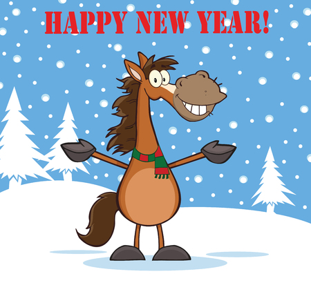 the year of the horse: Happy New Year Greeting With Smiling Horse Cartoon Mascot Character Over Winter Landscape Illustration