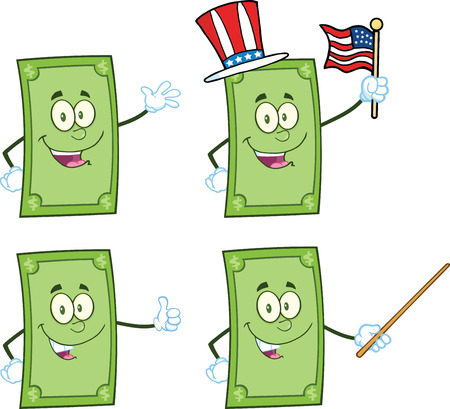 Dollar Bill Cartoon Mascot Characters 1  Collection Set Vector