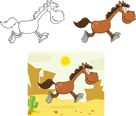 Smiling Horse Cartoon Character Running  Collection Set 矢量图像