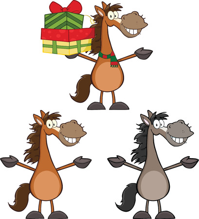Horses Cartoon Characters 2  Collection Set Vector