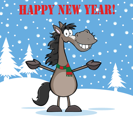 Happy New Year Greeting With Smiling Grey Horse Cartoon Mascot Character Over Winter Landscape