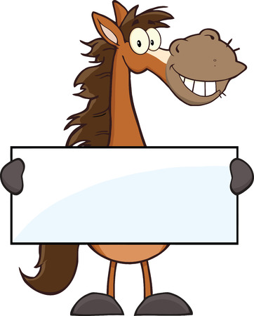 Horse Cartoon Mascot Character Holding A Banner  Illustration Isolated on white