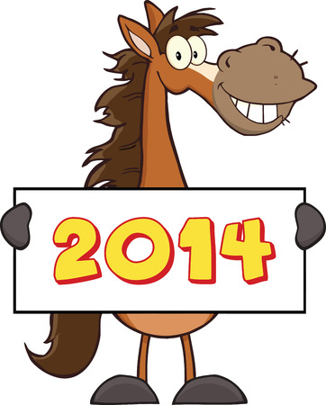 Horse Cartoon Mascot Character Holding A Banner With Text  Illustration Isolated on white Vector