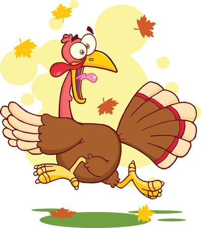 thanksgiving day symbol: Turchia Fuga Cartoon Character Vettoriali