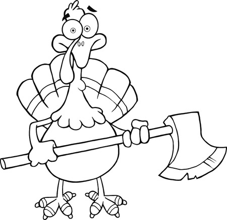 ax: Black and White Turkey With Ax Cartoon Mascot Character