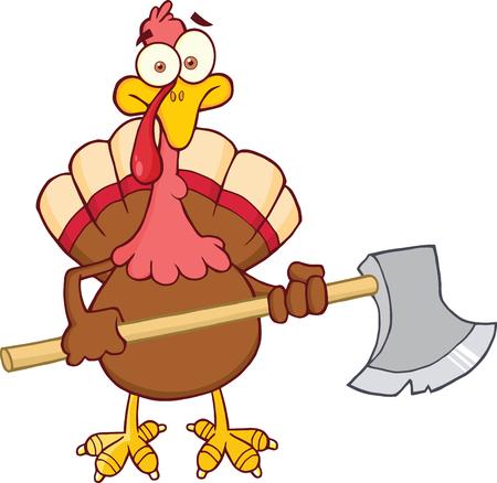 Turkey With Ax Cartoon Mascot Character