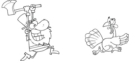 chasing: Black and White Angry Pilgrim Chasing With Axe A Turkey Illustration