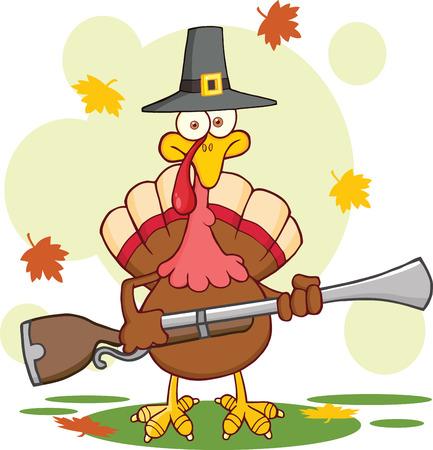 pilgrim hat: Pilgrim Turkey Bird Cartoon Mascot Character With A Musket Illustration