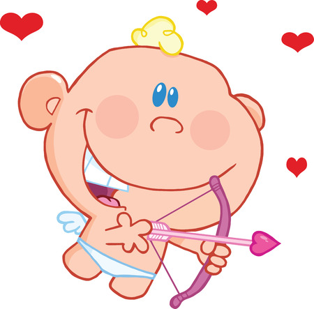 Cute Baby Cupid Flying With Bow And Arrow  Illustration Isolated on white Vector
