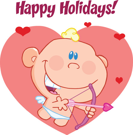 Happy Holidays Greeting With Cute Baby Cupid Flying With Bow And Arrow Vector