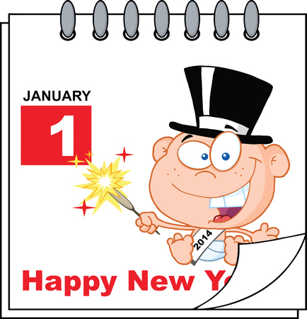 Happy New Year Calendar With New Year Baby Vector