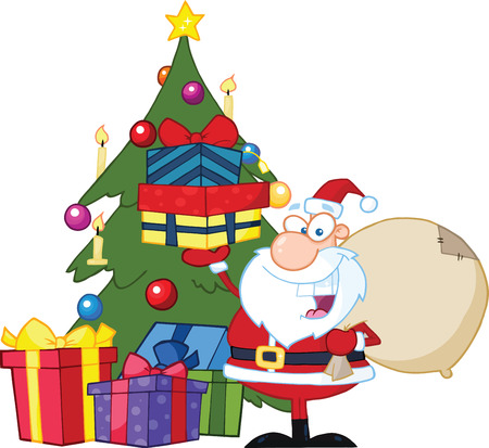 nick: Jolly Santa Claus Holding Up A Stack Of Gifts By A Christmas Tree  Illustration Isolated on white