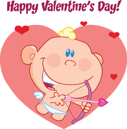 Happy Valentine s Day Greeting With Cute Baby Cupid Flying With Bow And Arrow Vector