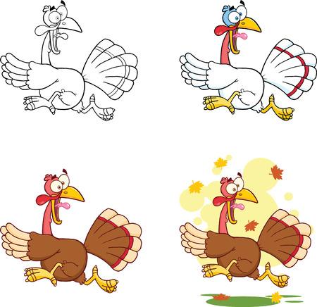 funny turkey: Turkey Escape Cartoon Character  Collection Set