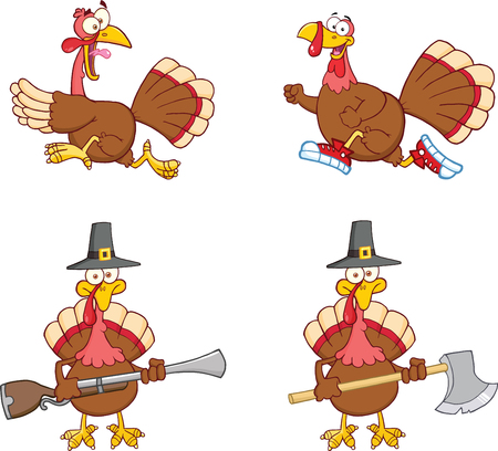 Turkey Birds Cartoon Mascot Characters Vector