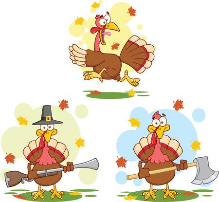 Turkey Birds Cartoon Mascot Characters Vector
